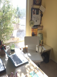 The sunshine draws me to my pretty corner. Love my white chair.